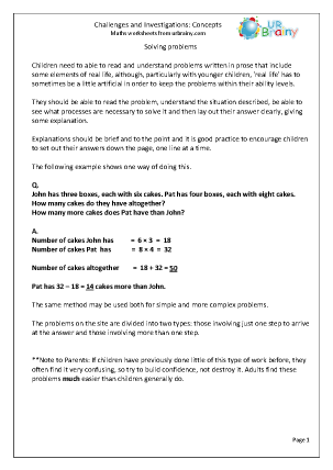 Preview of worksheet Challenges and Investigations in Year 5