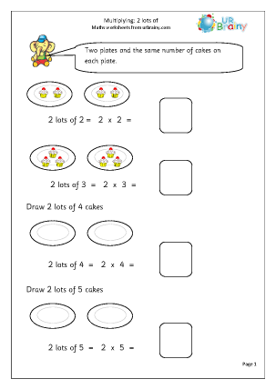 Preview of worksheet Multiply: lots of 2