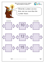 10 more than less than worksheets ks1