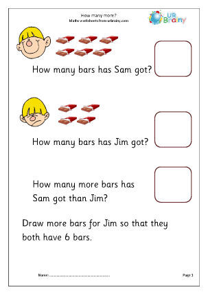 Preview of worksheet Find how many more 2