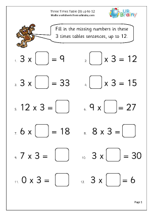 Preview of worksheet 3x table up to 12 (3)