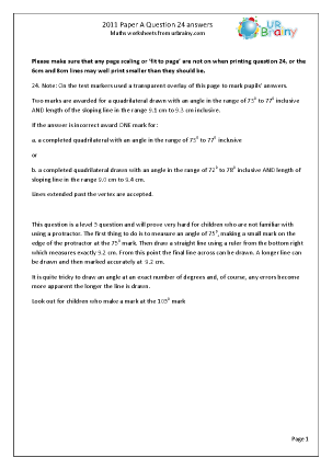 Question 24 Answers Paper A 2011