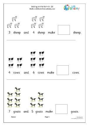 Preview of worksheet Adding numbers up to 20: farm