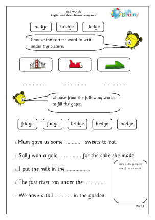 Preview of worksheet dge words