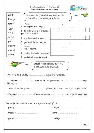 Worksheets Soft G Words Worksheets soft g words english worksheet for key stage 1 words