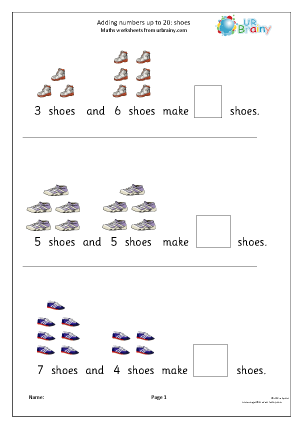 Preview of worksheet Adding numbers up to 20: shoes