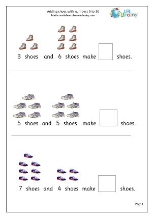Adding numbers up to 10: shoes