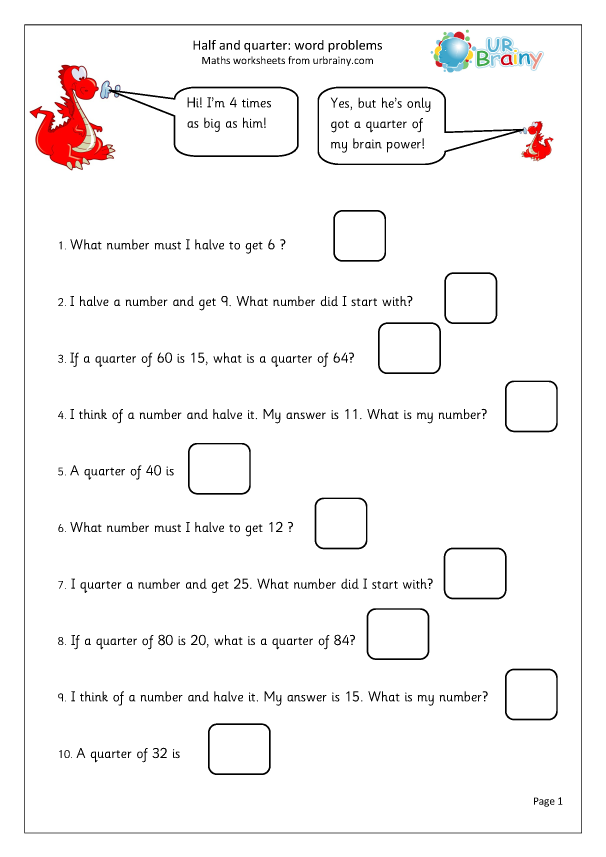 Preview of 'Halves and quarters word problems'