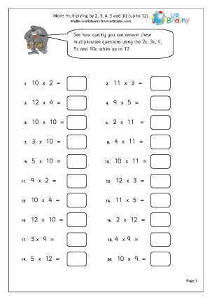 Preview of worksheet More multiplying by 2,3,4,5 and 10 (up to 12)