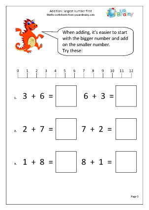 ... : Largest Number First Addition Maths Worksheets For Year 1 (age 5-6