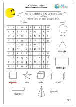 Year 1 Shape Wordsearch