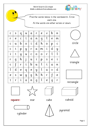 Preview of worksheet Year 1 Shape Wordsearch