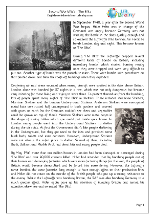 Preview of worksheet The Second World War: The Blitz