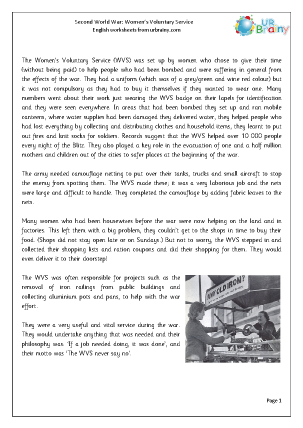 Preview of worksheet The Second World War: Women's Voluntary Service