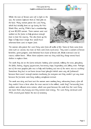 Preview of worksheet The Second World War: The Land Army