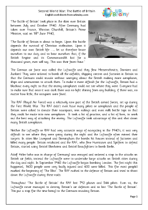 Preview of worksheet The Second World War: The Battle Of Britain