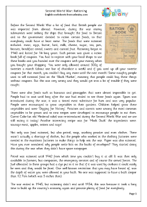 Preview of worksheet The Second World War: Rationing