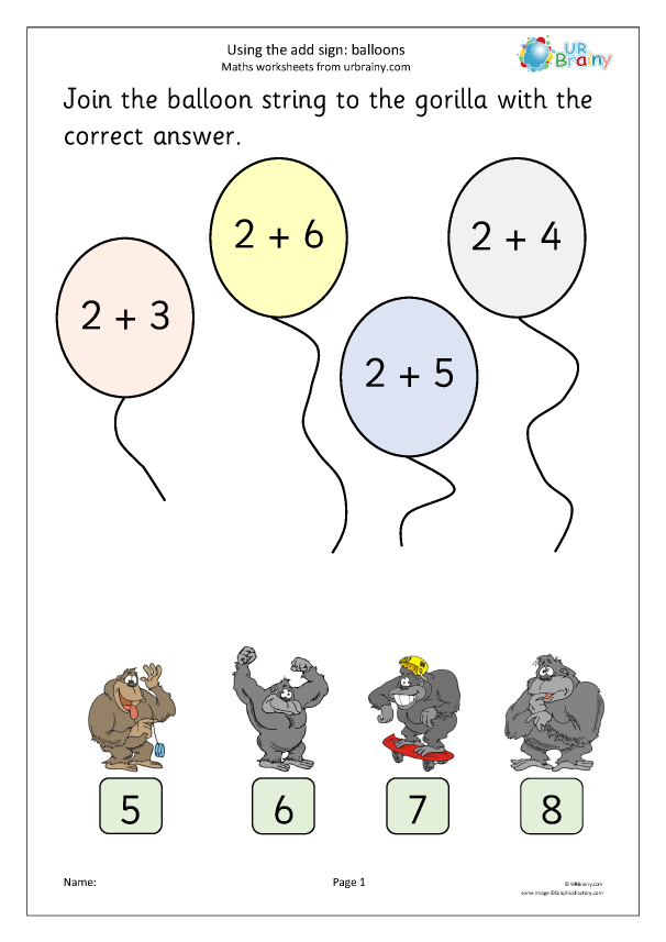 Preview of 'Using the add sign: balloons'