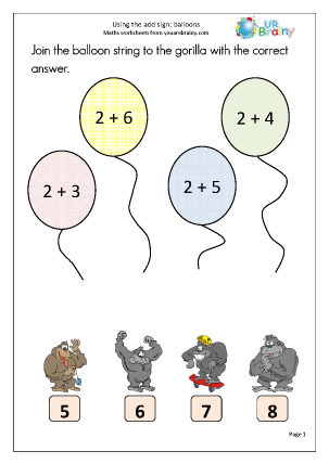 Preview of worksheet Using the add sign: balloons
