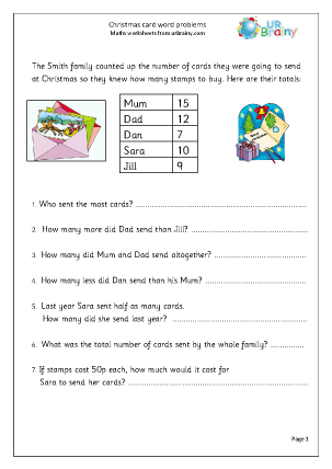 Preview of worksheet Christmas card word problems