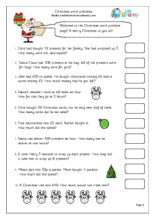 Preview of worksheet Christmas word problems