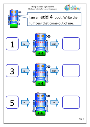 Preview of worksheet Using the add sign: robots