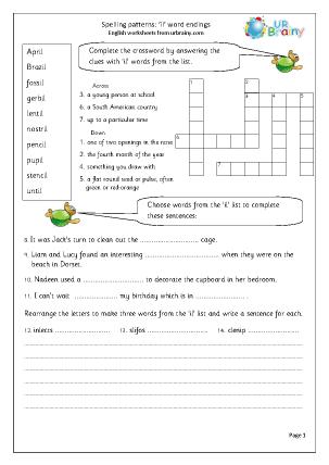 Preview of worksheet il word endings