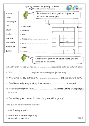 Preview of worksheet ch words (saying sh)