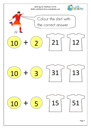 Preview of worksheet Adding 10 to a number: shirts