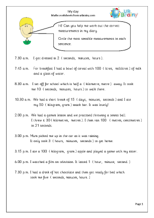 Preview of worksheet My day (1)