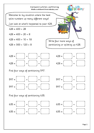 Preview of worksheet Halloween witches: partitioning