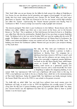 Preview of worksheet Mad Jack Fuller: Lighthouses And Lifeboats