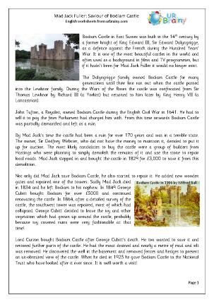 Preview of worksheet Mad Jack Fuller: Saviour of Bodiam Castle