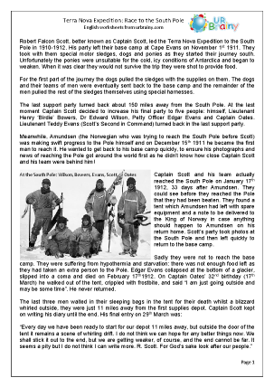 Preview of worksheet Terra Nova Expedition: Race to the South Pole