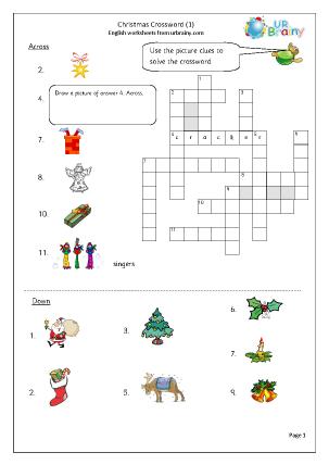 Preview of worksheet Christmas crossword 1
