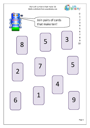 Preview of worksheet Pairs that make 10