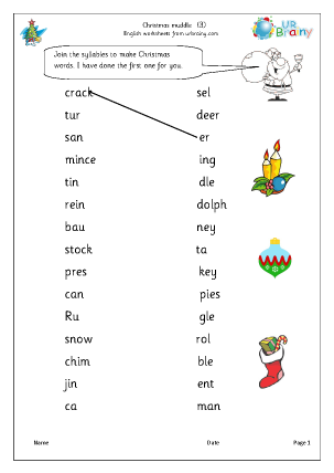 Preview of worksheet Christmas muddle 3