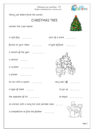 Preview of worksheet Christmas tree 1