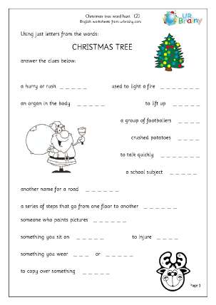 Preview of worksheet Christmas tree 2