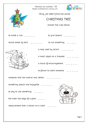 Preview of worksheet Christmas tree 3