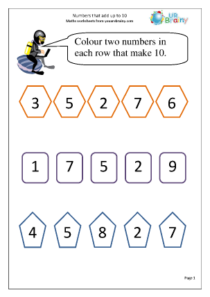 Preview of worksheet Numbers that make 10