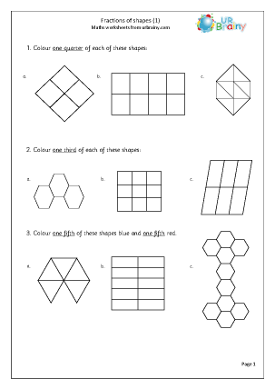 Preview of worksheet Fractions of shapes (quarters, thirds, fifths)