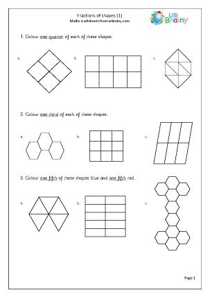 Fractions Of Shapes Worksheet & fractions worksheet dividing shapes