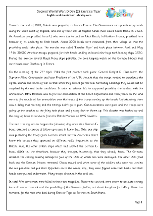 Preview of worksheet The Second World War D Day: Exercise Tiger