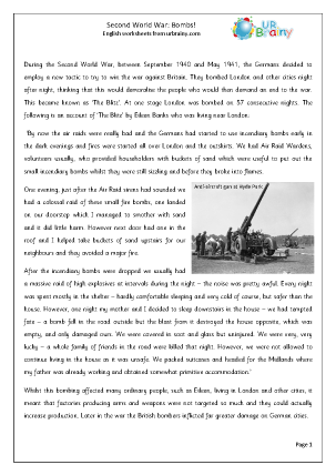 Preview of worksheet The Second World War Bombs