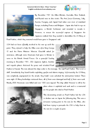 Preview of worksheet Second World War Pearl Harbor