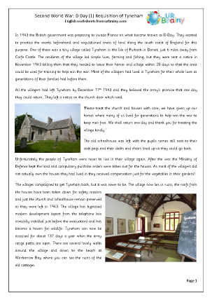 Second World War  Requisition of Tyneham
