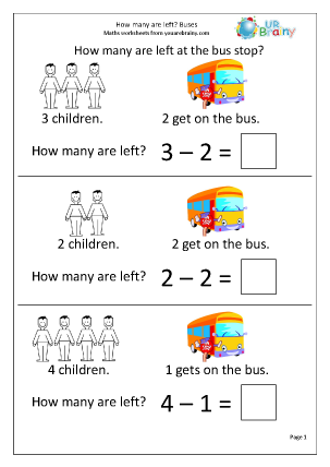 Preview of worksheet How many are left? Buses