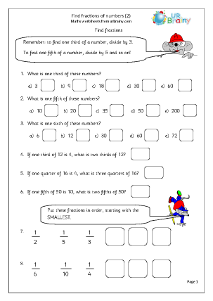 Preview of worksheet Find fractions of numbers (2)