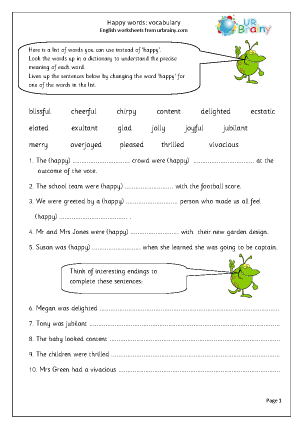 Preview of worksheet Happy words vocabulary